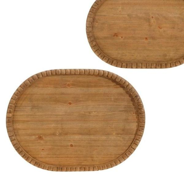 Beaded Wooden Serving Trays