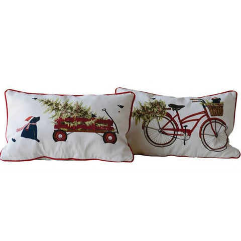 Bicycle and Wagon Festive Holiday Pillows