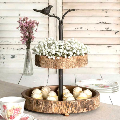Bird and Birch Rustic Wood and Metal Two Tiered Serving Tray