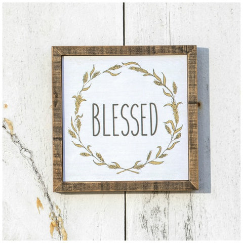 Blessed Wood Framed Wall Sign