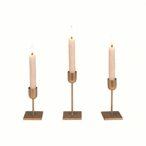 Bronze Metal Candle Holders - Set of Three