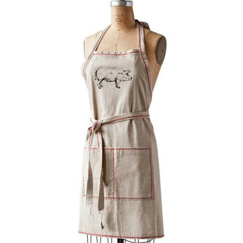 Butcher Chart Fabric Apron with red Stitching