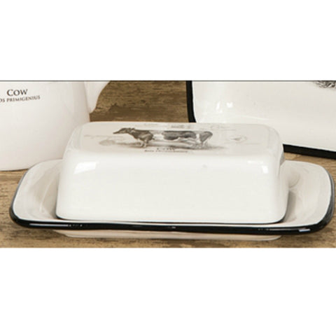 Butter Dish with Cow Decal