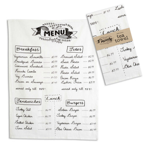 Cafe Menu tea towel perfect for a cottage or farmhouse kitchen