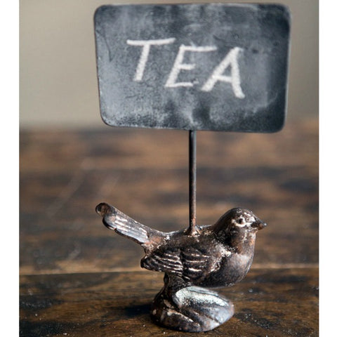 Cast Iron Bird with Chalkboard