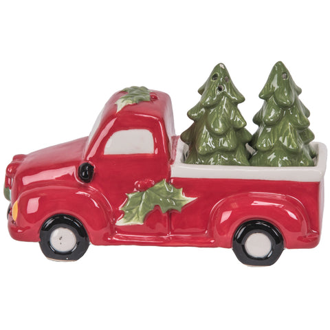 Pickup Truck with Trees Salt & Pepper Shaker Set