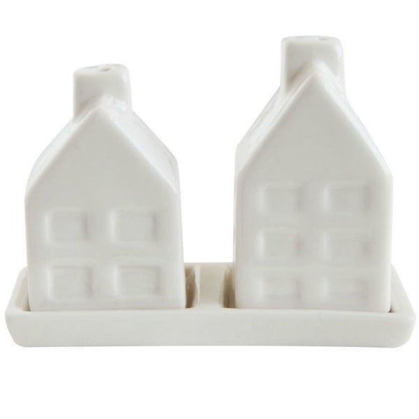 Ceramic House Salt and Pepper Shaker Set of Two