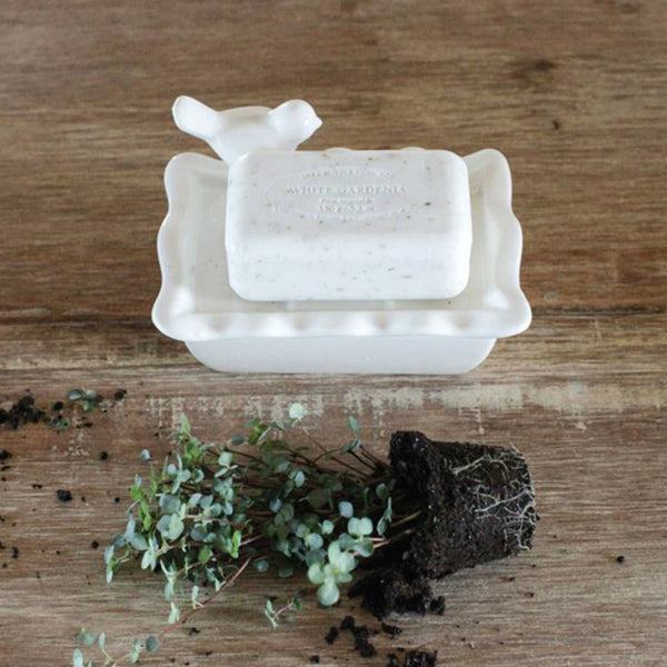 Ceramic Soap Dish with Bird finial