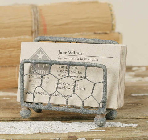 Rustic Chicken Wire Business Card Holder