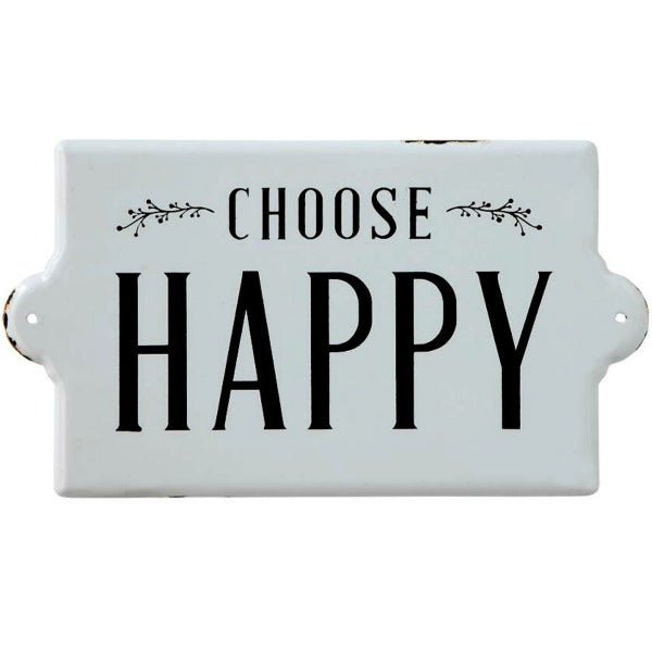 Choose Happy Enamel Farmhouse Style Wall Decor Sign