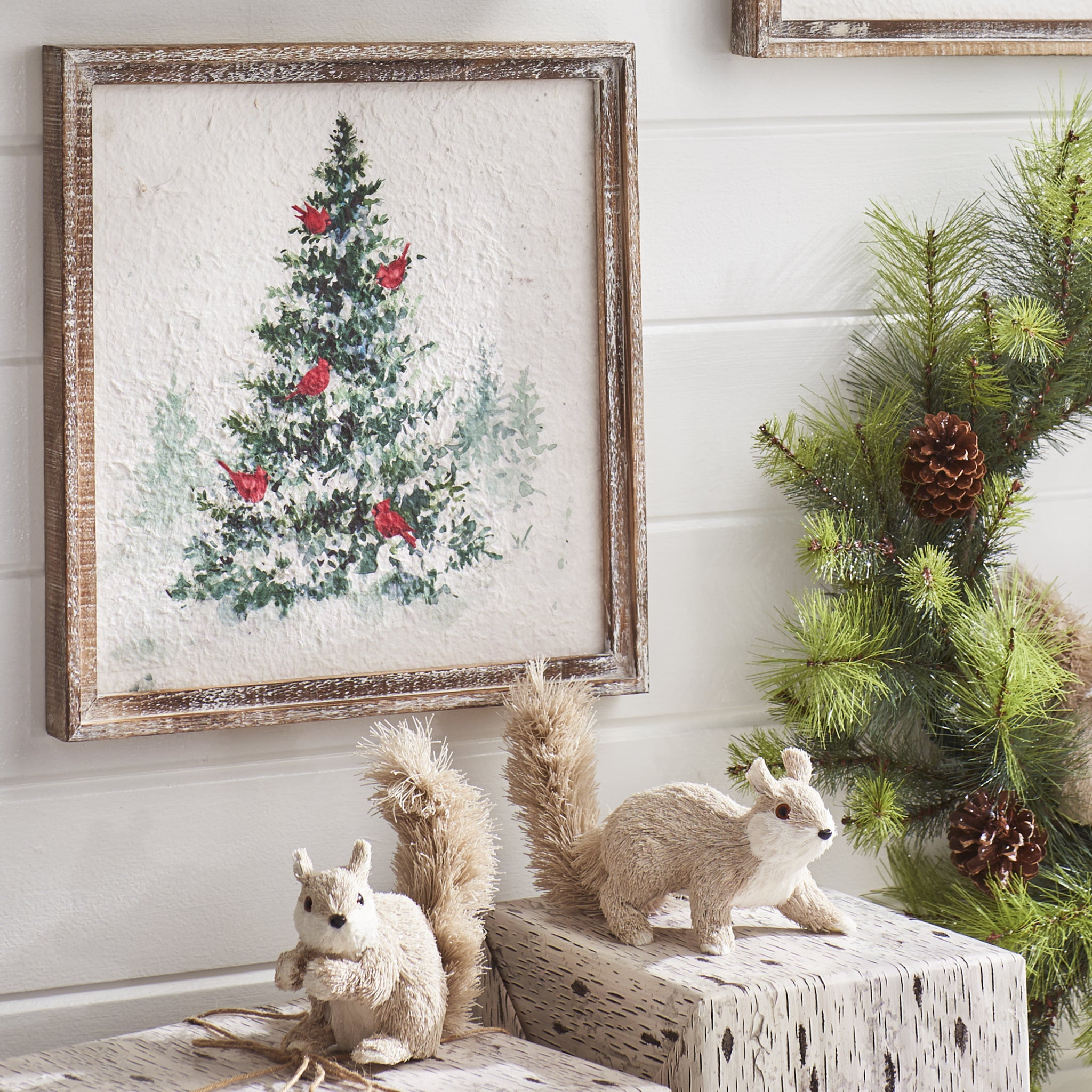 Christmas Tree With Cardinals Framed Wall Art Vintage Farmhouse Finds