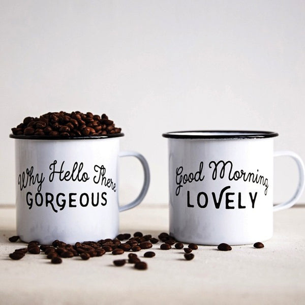 Enamel Farmhouse Style Coffee Mug set of two with cute sayings