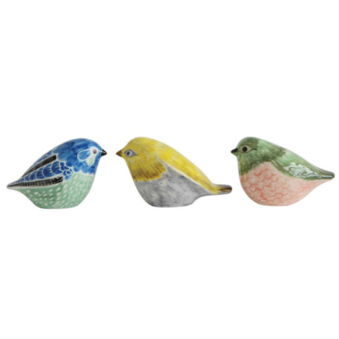 Colorful Stoneware Birds - Set of Three