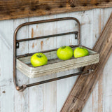 Rustic metal towel rack with shelf perfect for a bathroom, kitchen or laundry room