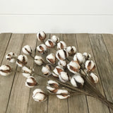 Rustic Cotton Stems Wired for Easy Shaping and Sold as Set of Three