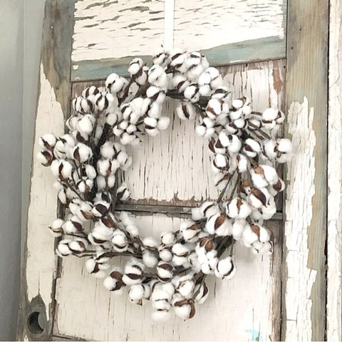 Farmhouse, Cottage or Shabby Chic Style Cotton Wreath for Fall or Winter
