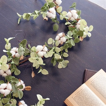 Faux Eucalyptus and Cotton Boll Garland