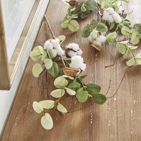 Cotton and Eucalyptus Stems - Set of Three