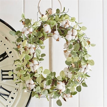 Cotton and Faux Eucalyptus Wreath