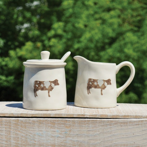 Cow Dishware Sugar and Creamer Set of Two