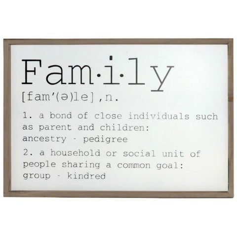 "Definition of ""family"" wood framed wall decor sign"