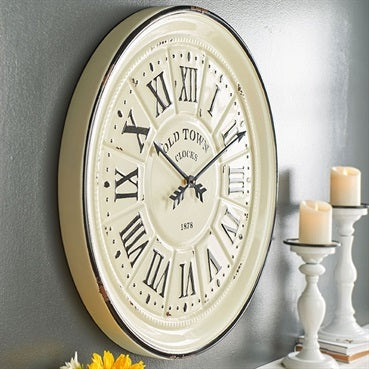 Black and White Vintage Inspired Enamel-look Wall Clock