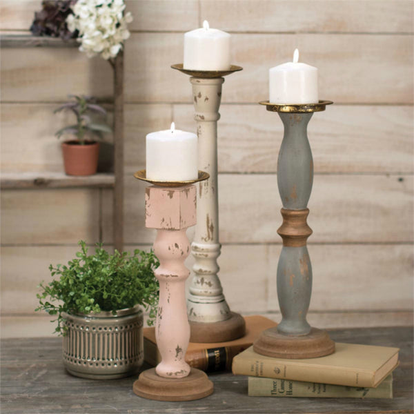 Shabby Cottage Style Candle Holders - Set of Three