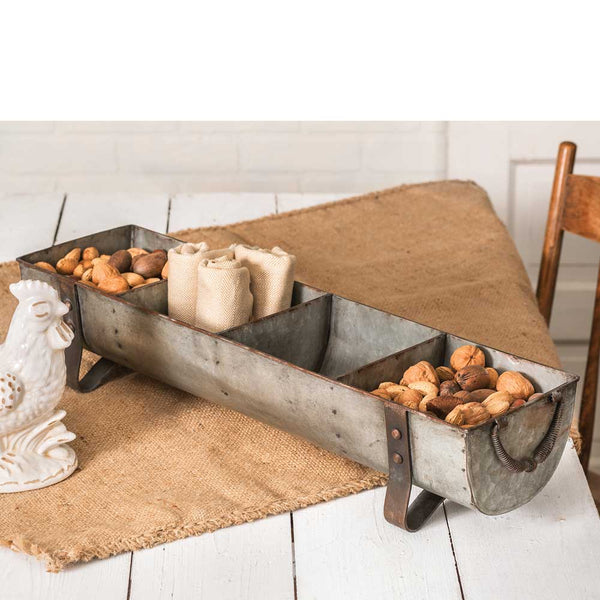 Rustic Metal Farmhouse Chicken Feeder with Four Divided Sections