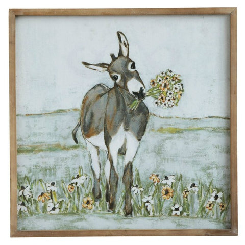 Dorothy Lou Donkey Art Canvas Wall Sign