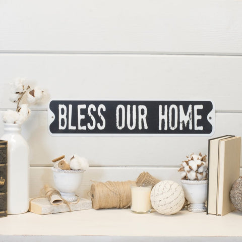 "Embossed Metal ""Bless Our Home"" Sign"