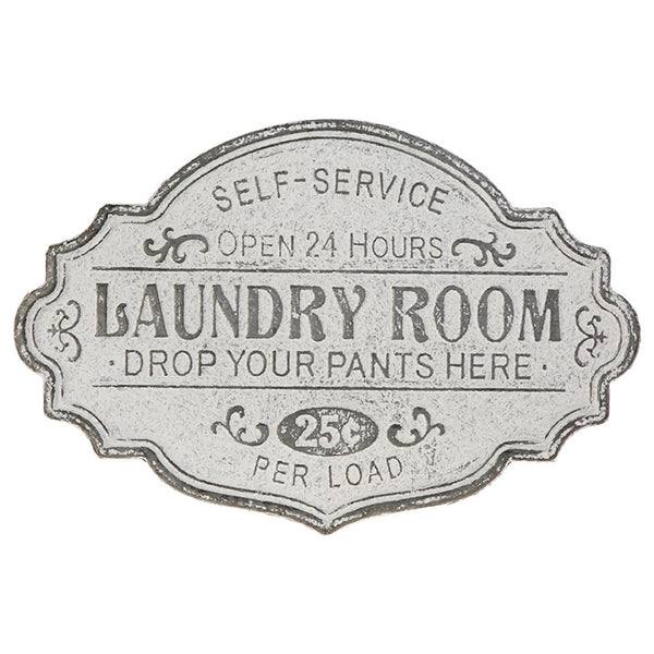 Distressed metal laundry room sign for any farmhouse or country cottage