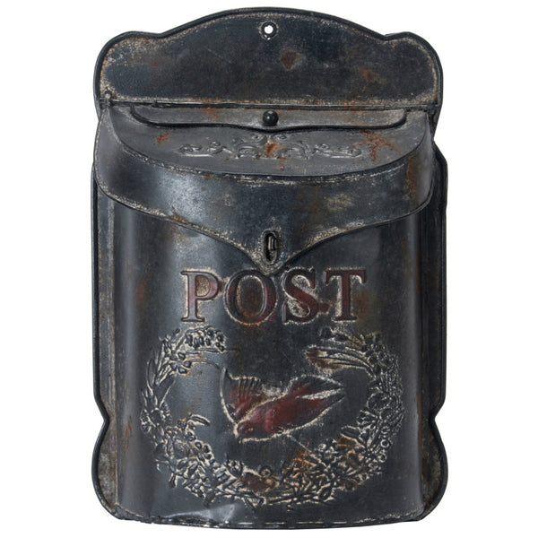 Embossed Metal MailBox - Antique Black