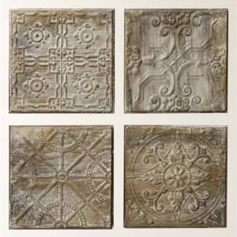 Embossed Decorative Tin Tile Set of Four
