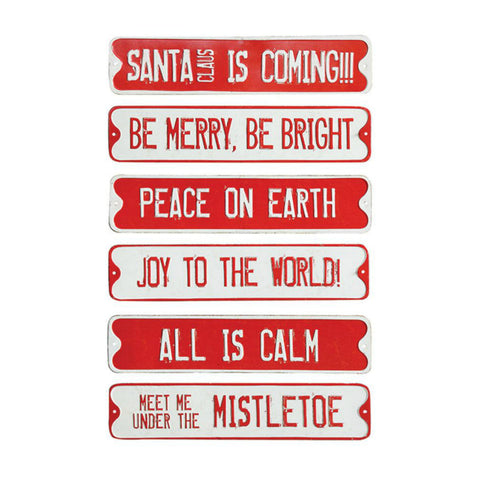 Embossed Festive Tin Holiday Wall Signs