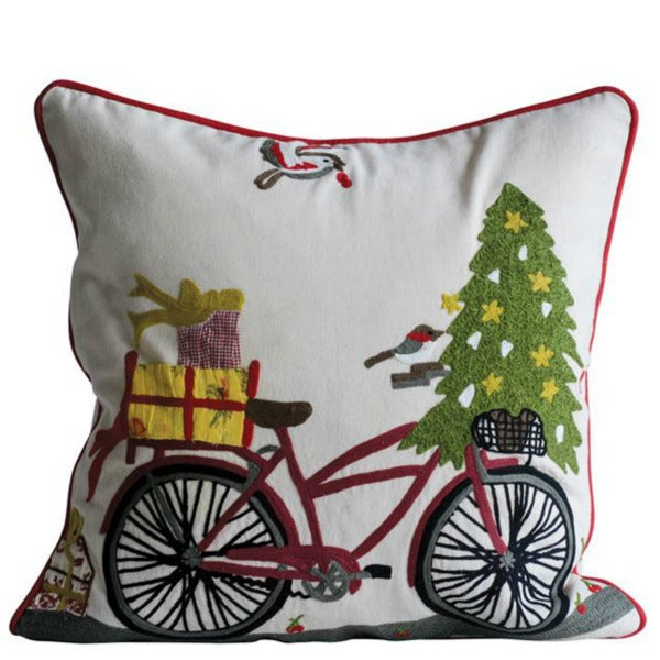 Embroidered Holiday Pillow with Bicycle, Tree and Bird