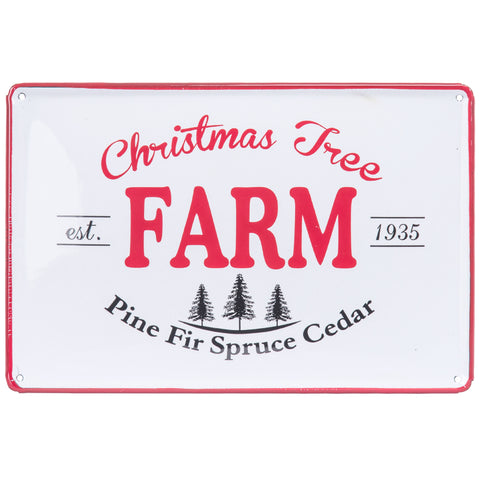 Enamel Christmas Tree Farm Plaque