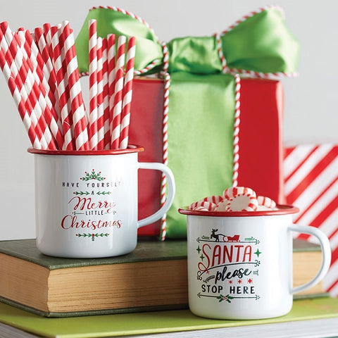 White and Red Enamel Metal Christmas Holiday Mug Set of Two perfect for hot cocoa, coffee or tea