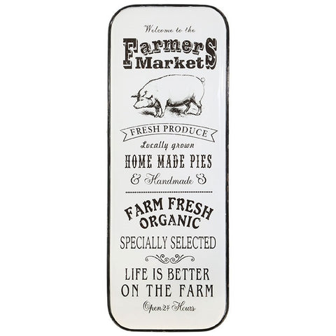 Enameled Metal Farmers Market Wall Decor Sign