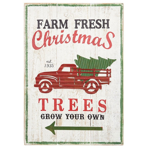 farmhouse or country cottage style holiday sign with planks and metal vintage truck hauling a tree