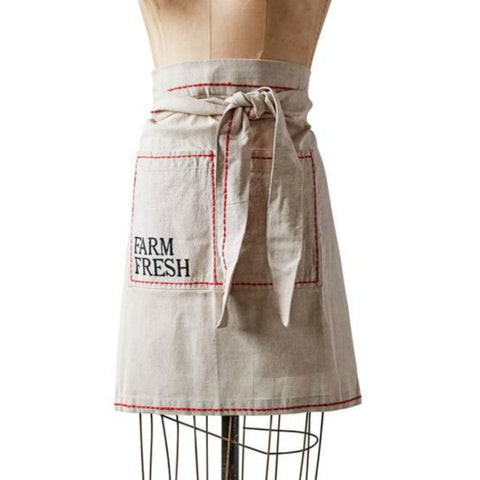 "Cotton ""Farm Fresh"" apron with embroidered edges"