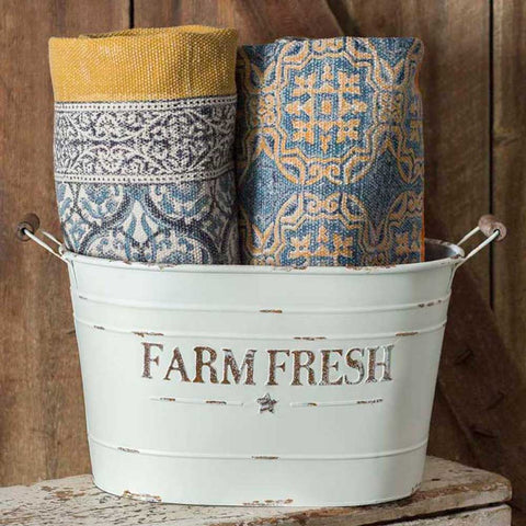 White painted Metal Farm Fresh Pail, perfect for a country cottage or rustic farmhouse