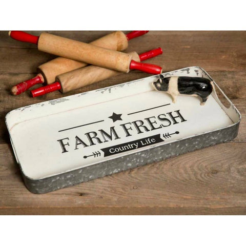 Farm Fresh Farmhouse Style Metal Serving Tray
