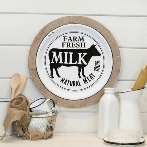 Farm Fresh Milk Wood and Metal Sign