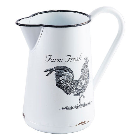 Classic country cottage or farmhouse style painted enamel pitcher featuring image of a farm fresh rooster