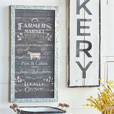 Metal Framed Farmers Market Wall Sign