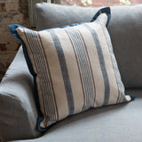 Farmhouse pillow with blue and white striped ticking