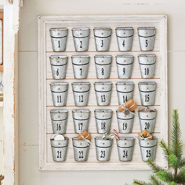 Rustic Wood Framed Advent Calendar featuring numbered metal buckets
