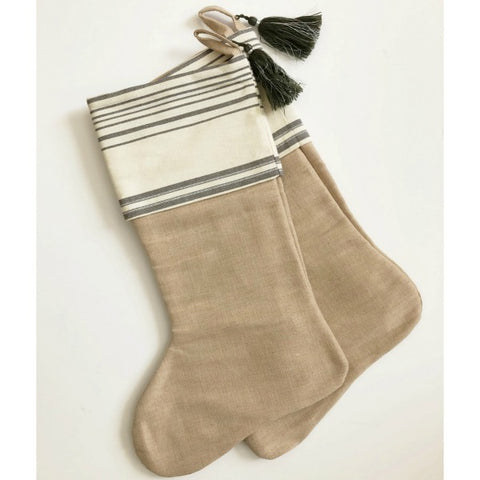 French Stripped Holiday Stocking Set of Two