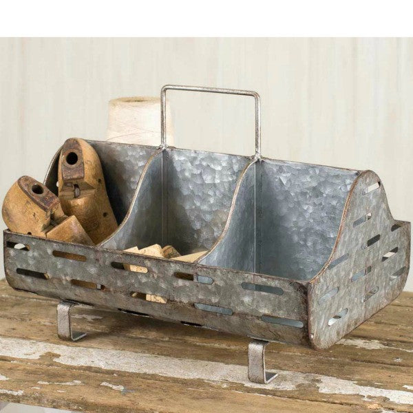 Galvanized Metal Organizing Caddy with Handle