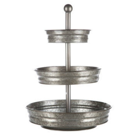 The Trenton Galvanized Metal Three Tier Serving Tray